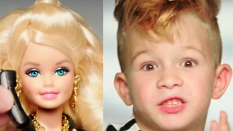 Мальчик в рекламе Барби.